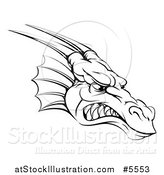 Vector Illustration of a Black and White Snarling Fierce Dragon Mascot Head by AtStockIllustration