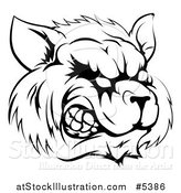 Vector Illustration of a Black and White Snarling Raccoon Mascot Head by AtStockIllustration