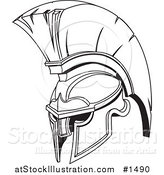 Vector Illustration of a Black and White Spartan or Trojan Helmet, Part of Body Armor by AtStockIllustration