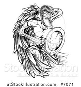 Vector Illustration of a Black and White Spartan Trojan Warrior Angel Running with a Sword and Shield by AtStockIllustration