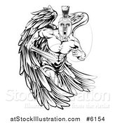 Vector Illustration of a Black and White Spartan Trojan Warrior Guardian Angel Running with a Sword by AtStockIllustration
