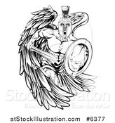 Vector Illustration of a Black and White Spartan Trojan Warrior Guardian Angel with a Sword and Shield by AtStockIllustration
