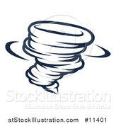 Vector Illustration of a Black and White Spinning Tornado Twister by AtStockIllustration