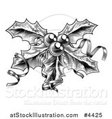 Vector Illustration of a Black and White Sprig of Christmas Holly with Ribbons by AtStockIllustration