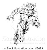 Vector Illustration of a Black and White Sprinting Muscular Boar Man by AtStockIllustration