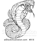 Vector Illustration of a Black and White Striking Venomous Cobra Snake by AtStockIllustration