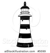 Vector Illustration of a Black and White Striped Lighthouse by AtStockIllustration