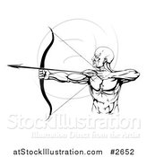 Vector Illustration of a Black and White Strong Male Archer by AtStockIllustration