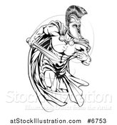 Vector Illustration of a Black and White Strong Spartan Trojan Warrior Mascot Running with a Sword by AtStockIllustration