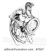 Vector Illustration of a Black and White Strong Spartan Trojan Warrior Mascot Sprinting with a Sword and Shield by AtStockIllustration