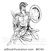 Vector Illustration of a Black and White Strong Spartan Trojan Warrior Mascot with a Cape, Running with a Sword and Shield by AtStockIllustration