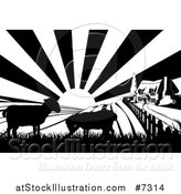 Vector Illustration of a Black and White Sunrise over a Cottage Farm House with Two Silhouetted Lambs and Fields by AtStockIllustration