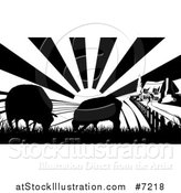 Vector Illustration of a Black and White Sunrise over a Cottage Farm House with Two Silhouetted Sheep and Fields by AtStockIllustration
