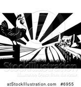 Vector Illustration of a Black and White Sunrise over a Farm House, a Crowing Rooster and Fields by AtStockIllustration