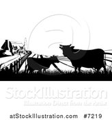 Vector Illustration of a Black and White Sunrise over a Farm House with Silhouetted Cows and Fields by AtStockIllustration