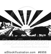 Vector Illustration of a Black and White Sunrise over a Farm House with Silhouetted Pigs and Fields by AtStockIllustration