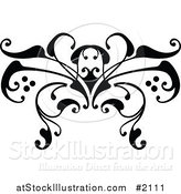 Vector Illustration of a Black and White Swirl Butterfly Tattoo Design by AtStockIllustration