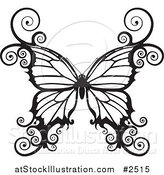 Vector Illustration of a Black and White Swirly Butterfly by AtStockIllustration