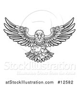 Vector Illustration of a Black and White Swooping American Bald Eagle with a Video Game Controller in Its Claws by AtStockIllustration