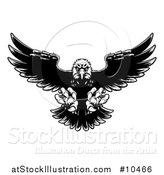 Vector Illustration of a Black and White Swooping Bald Eagle with Talons Extended by AtStockIllustration