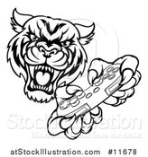 Vector Illustration of a Black and White Tiger Mascot Playing a Video Game by AtStockIllustration