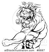 Vector Illustration of a Black and White Tough Angry Muscular Lion Man Punching and Roaring by AtStockIllustration
