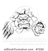Vector Illustration of a Black and White Tough Bulldog Monster Clawing Through a Wall 2 by AtStockIllustration
