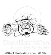 Vector Illustration of a Black and White Tough Bulldog Monster Clawing Through a Wall by AtStockIllustration