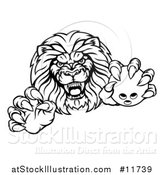 Vector Illustration of a Black and White Tough Clawed Male Lion Monster Mascot Holding a Bowling Ball by AtStockIllustration