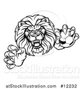 Vector Illustration of a Black and White Tough Clawed Male Lion Monster Mascot Holding a Soccer Ball by AtStockIllustration