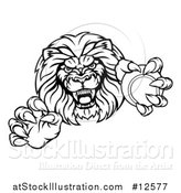Vector Illustration of a Black and White Tough Clawed Male Lion Monster Mascot Holding a Tennis Ball by AtStockIllustration