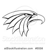 Vector Illustration of a Black and White Tough Eagle Head in Profile by AtStockIllustration