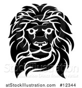 Vector Illustration of a Black and White Tough Male Lion Head by AtStockIllustration