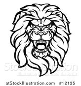 Vector Illustration of a Black and White Tough Male Lion Head Mascot by AtStockIllustration