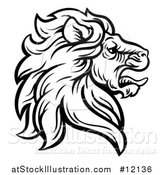 Vector Illustration of a Black and White Tough Male Lion Head Mascot in Profile by AtStockIllustration