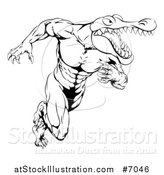Vector Illustration of a Black and White Tough Muscular Alligator Man Running Upright by AtStockIllustration