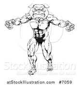 Vector Illustration of a Black and White Tough Muscular Bulldog Man Mascot Standing Upright by AtStockIllustration