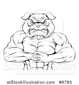 Vector Illustration of a Black and White Tough Muscular Bulldog Man Punching One Fist into a Palm by AtStockIllustration