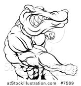 Vector Illustration of a Black and White Tough Muscular Crocodile or Alligator Man Punching by AtStockIllustration