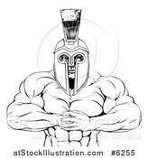 Vector Illustration of a Black and White Tough Muscular Spartan Warrior Man Gesturing Bring It with His Fists by AtStockIllustration