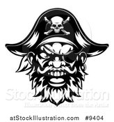 Vector Illustration of a Black and White Tough Pirate Mascot Face with an Eye Patch and Captain Hat by AtStockIllustration
