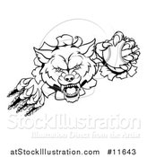 Vector Illustration of a Black and White Tough Wolf Mascot Breaking Through a Wall and Holding a Baseball by AtStockIllustration