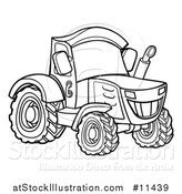 Vector Illustration of a Black and White Tractor by AtStockIllustration