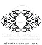Vector Illustration of a Black and White Tribal Frame Tattoo by AtStockIllustration