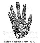 Vector Illustration of a Black and White Tribal Patterned Hand Print by AtStockIllustration