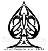 Vector Illustration of a Black and White Tribal Spade Tattoo by AtStockIllustration