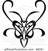 Vector Illustration of a Black and White Tribal Swirl Butterfly by AtStockIllustration