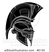 Vector Illustration of a Black and White Trojan Spartan Helmet by AtStockIllustration
