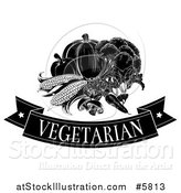 Vector Illustration of a Black and White Vegetarian Banner and Produce by AtStockIllustration