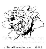 Vector Illustration of a Black and White Vicious Aggressive Bear Mascot Breaking Through a Wall by AtStockIllustration
